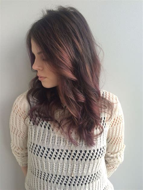 Purple Hair Balayage Brunette Darkhair With Purple Pink