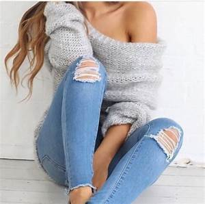 Sweater: geey, oversized, cute, jeans, ripped, pretty ...