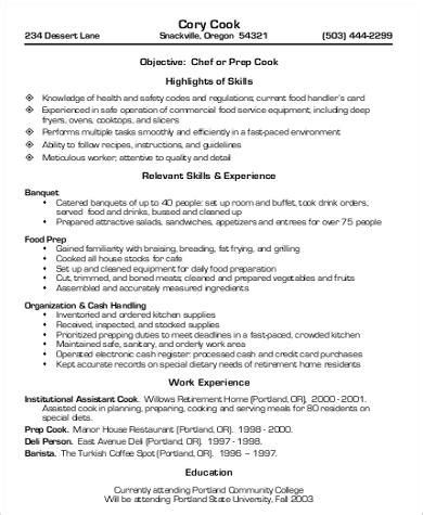 Cook Experience Resume by Sle Cook Resume 8 Exles In Word Pdf