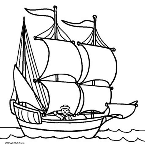 Cartoon Mayflower Boat by Printable Boat Coloring Pages For Kids Cool2bkids