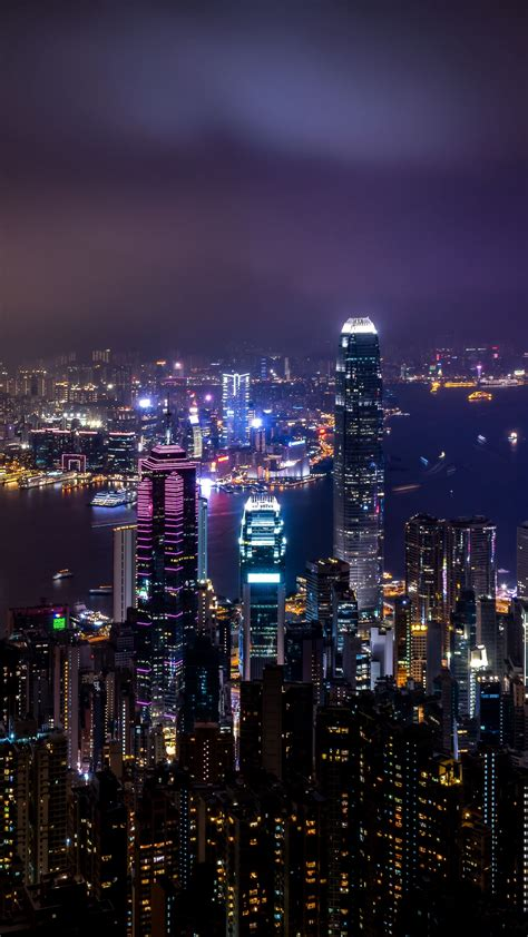 places hong kong china skyscrapers night city city