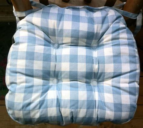 country kitchen chair cushions with ties gingham blue country check ready made curtains 9493