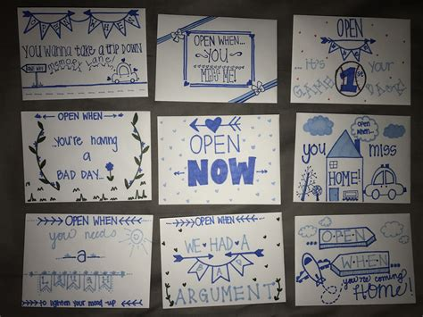 """If you're unsure of what to say for this one, check out our guide on what to say when someone is sick. """"Open When..."""" envelopes & letters #DIY #CarePackages #Bf #Doodles 