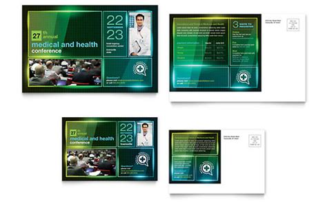 medical health care postcard templates word publisher