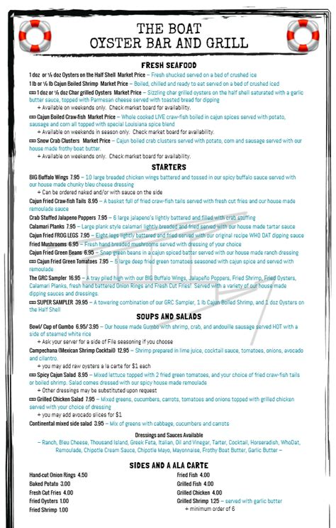 The Boat Oyster Bar And Grill by The Boat Menu Page 1 Yelp