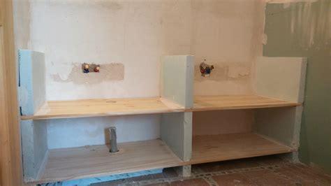 cuisine carreaux de platre comment fabriquer un meuble vasque avec plan de travail