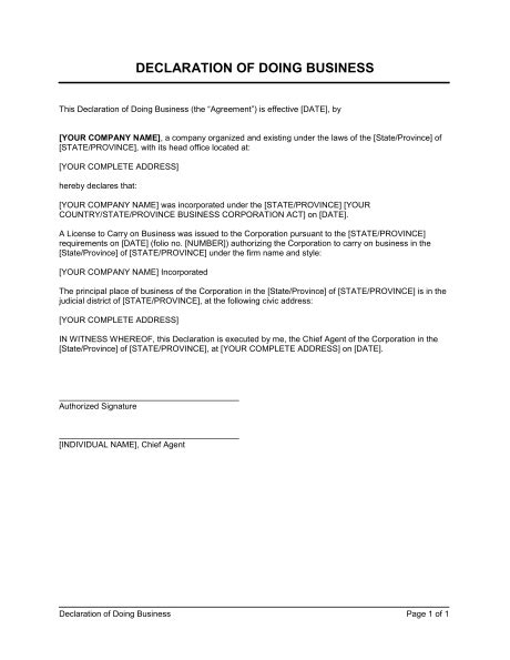 Contract Template Update To Carry Note by Declaration Of Doing Business Template Word Pdf By