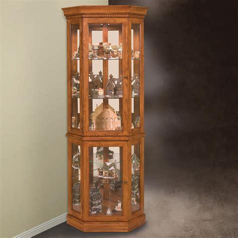 oak corner curio cabinet philip reinisch company 45951 lighthouse collection
