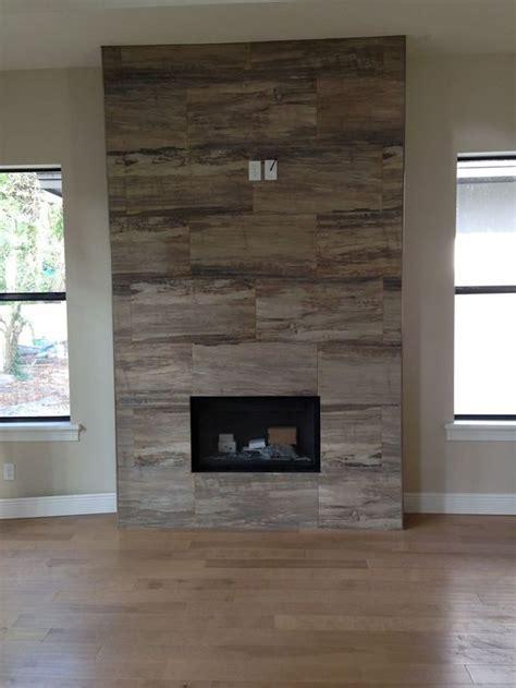 wood finish porcelain tile fireplace surround   Google