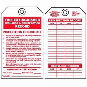 Safety inspection tags fire extinguisher recharge for Fire extinguisher inspection tag template