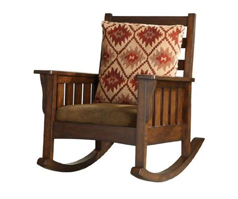 wooden rocking chair mission style oak rocker arms cushions back seat solid new ebay