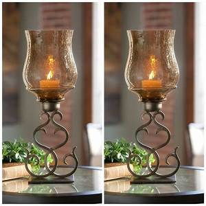 Pair, Home, Decor, Contemporary, Rustic, Pillar, Candle, Holders, Glass, Globes