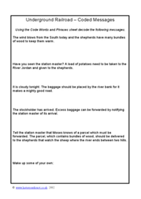 underground railroad coded messages 4th 5th grade worksheet lesson planet
