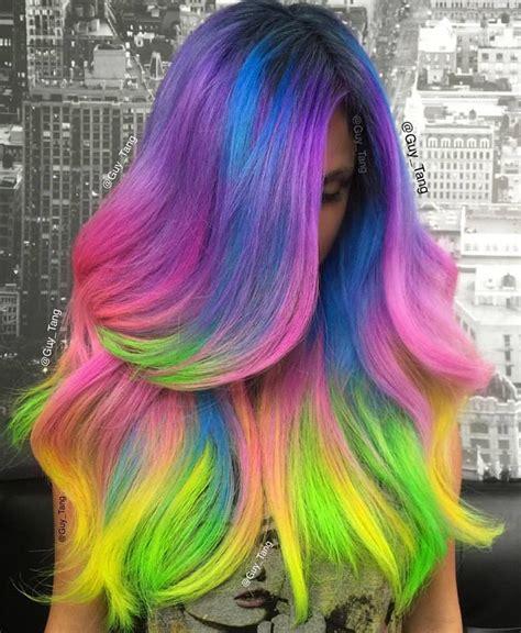 unicorn hair color tutorial unicorn hair by tang rainbow hair colour