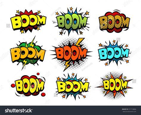 Comic Book Boom Sound Speech Bubbles Stock Vector