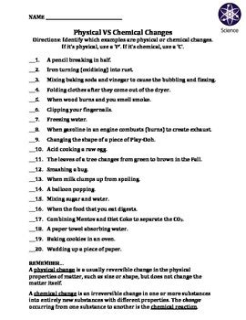 worksheet physical vs chemical changes by travis terry tpt