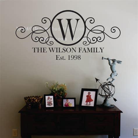 swirly circle family monogram vinyl wall decal    backlife