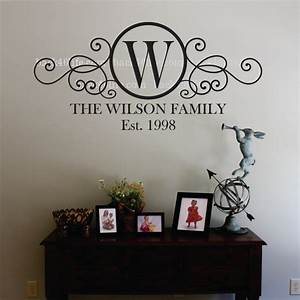 swirly circle family monogram vinyl wall decal m 010 by With monogram wall decal