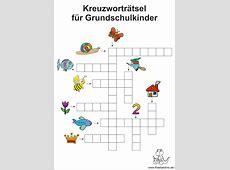 Kreuzworträtsel für Kinder in der Grundschule
