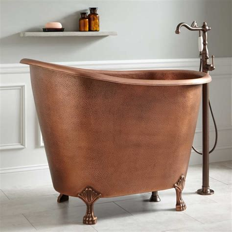 copper claw foot tub mini bathtub and shower combos for small bathrooms
