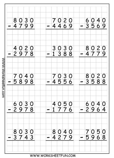 4 Digit Regrouping Subtraction  Math Printables  Pinterest  Matematik, Skole Og Ideer