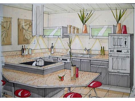 perspective cuisine dessin amenagement d une cuisine cuisine avec gorge et plan de