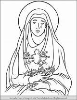 Coloring Mary Heart Sorrowful Sorrows Virgin Lady Thecatholickid Clip Drawing Sheets Catholic Clipart Holy Katholiek Heilige Kleurplaten Kleurkrijt Peuterwerkjes Katholieke sketch template