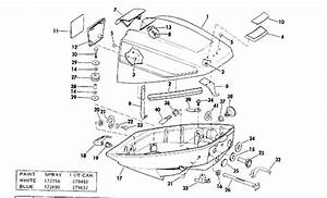 Evinrude Motor Cover Parts For 1975 15hp 15505c Outboard Motor