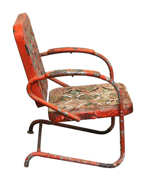 1960s cast iron floral patio rocker olde things