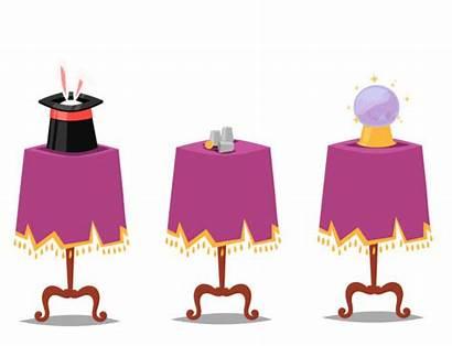 Table Magician Magic Clip Vector Trick Illustrations