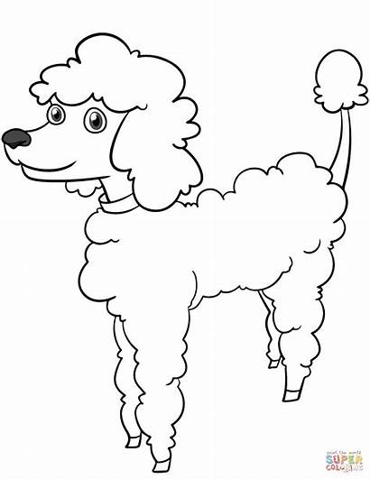 Coloring Poodle Cartoon Pages Printable Dogs Adult