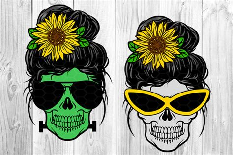 Portail des communes de france : Messy Bun and Sunglasses Skull Mom Sublimation PNG By ...