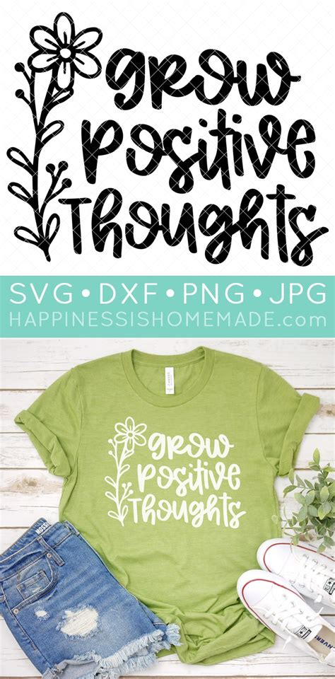 Grow Positive Thoughts SVG File - Happiness is Homemade