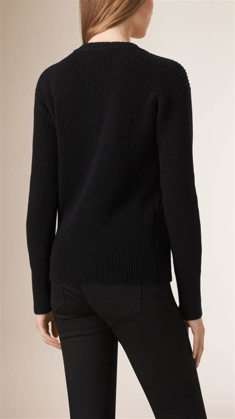 burberry sweater burberry chain detail wool sweater in black lyst
