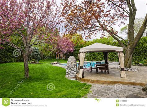 backyard with gazebo and deck stock photo image 36169830