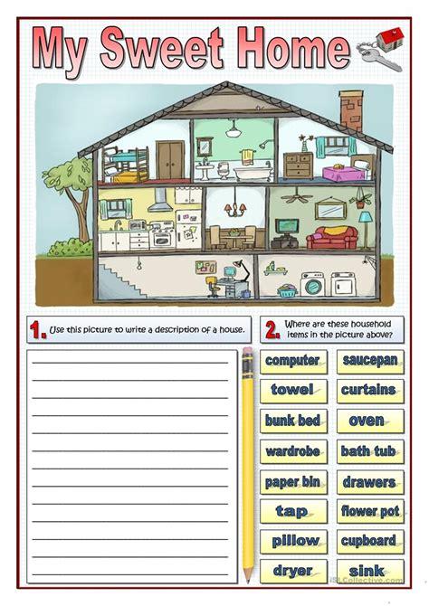 sweet home worksheet  esl printable worksheets
