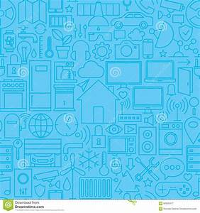 Thin Smart Home Line Seamless Light Blue Pattern Stock ...