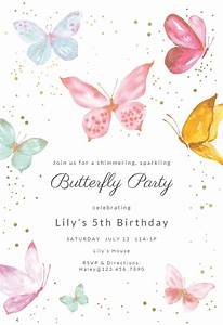 Congratulations Baby Shower Magical Butterflies Birthday Invitation Template Free