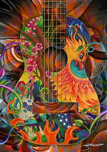 Bird Of Fire Guitar Drawing by Julie Oakes
