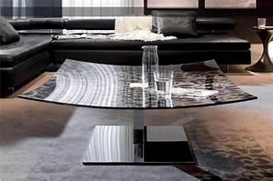 Table Basse Metal Verre : table basse au plateau en verre et pied en m tal chrom design l gant et peu singulier cette ~ Mglfilm.com Idées de Décoration