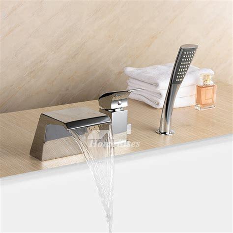 waterfall bathtub faucet brass roman chrome  hole pull