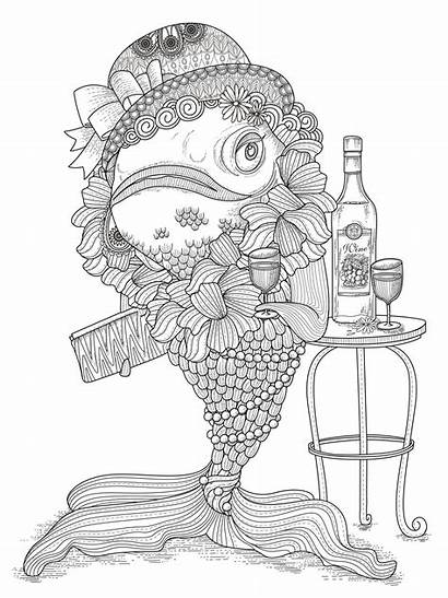 Coloring Adults Fish Pages Funny Pisces Humour