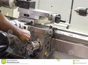 The Operator Use The Lathe Machine  Stock Image