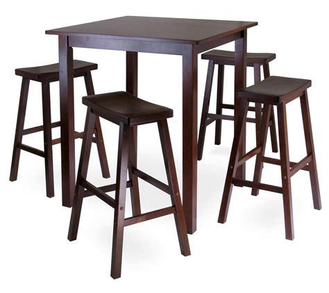Pub Furniture by Parkland 5pc Square High Pub Table Set With 4 Saddle Seat