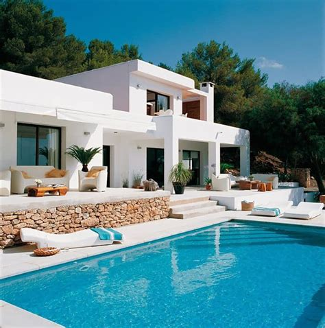 house with pool pool house with mediterranean style in ibiza spain