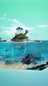 wallpaper palm island underwater 4k 17605