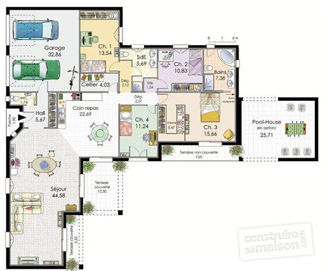 plan de maison de plain pied 3 chambres plan maison contemporaine 120m2