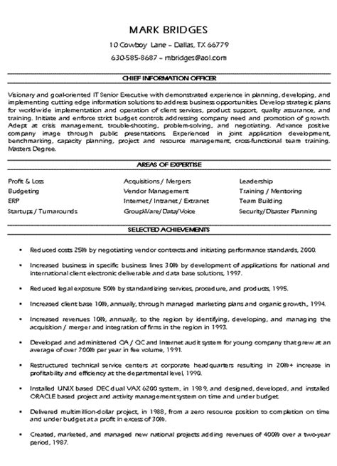 Professional Achievements For A Resume by Cio Technology Executive Resume Exle Sle