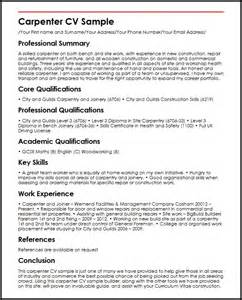 resume exles uk carpenter cv sle myperfectcv