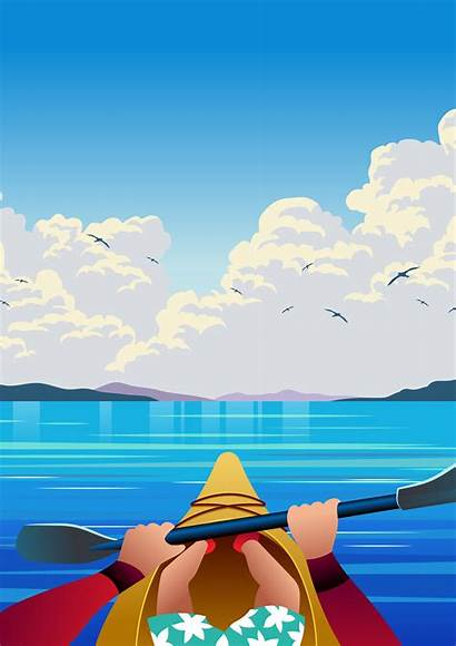 Vector Person Illustration Kayaking Clipart Graphics